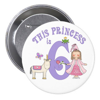 Unicorn Princess 6th Birthday 3 Inch Round Button