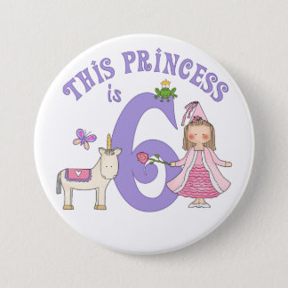 Unicorn Princess 6th Birthday Pinback Button