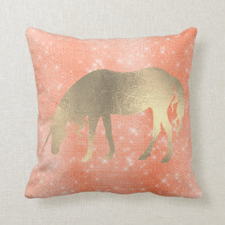 Unicorn Princess Coral Rose Fairly Gold Glitter Throw Pillow
