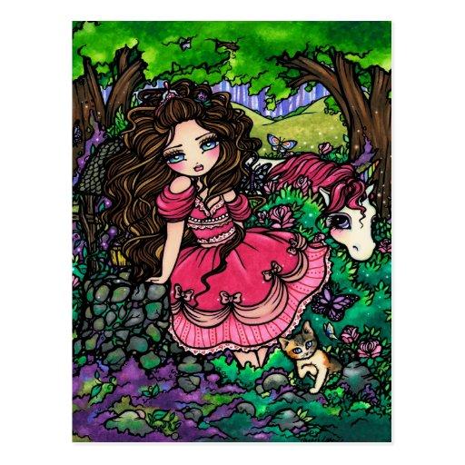 Unicorn Princess Fantasy Fairy Art Postcard