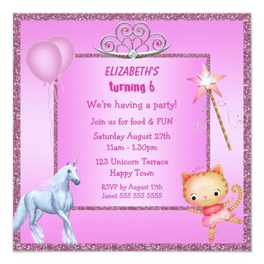 Unicorn, Princess Kitty, Tiara & Glitter Invites