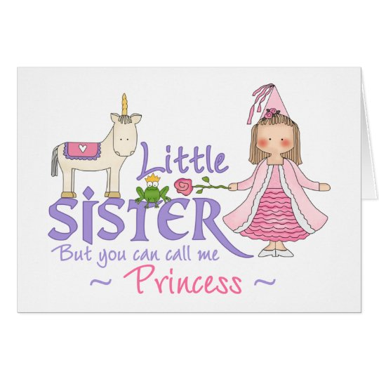 Unicorn Princess Little Sister Card