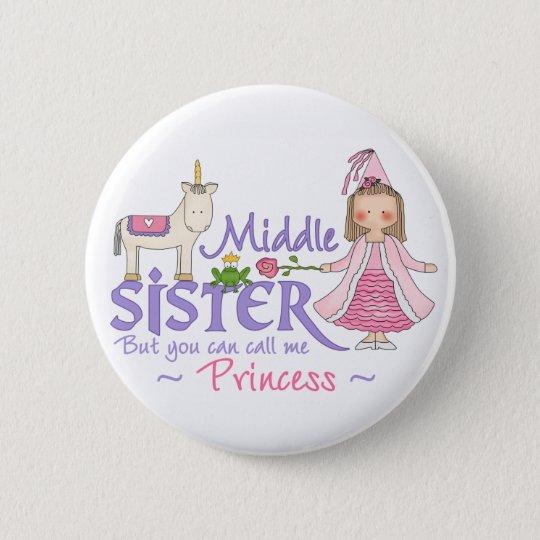 Unicorn Princess Middle Sister Pinback Button