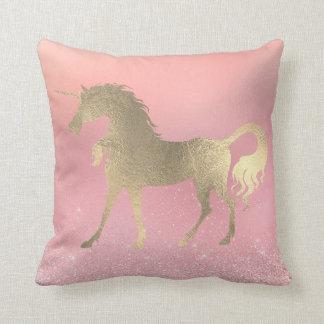 Unicorn Princess Pink Rose Fairly Gold Glitter Throw Pillow