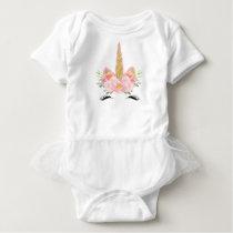 Unicorn Print Baby Tutu Body Suit Baby Bodysuit