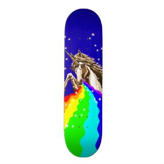 Unicorn pukes rainbow skateboard