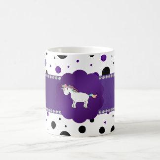 Unicorn purple and black polka dots classic white coffee mug