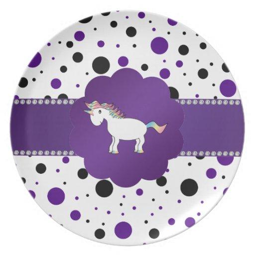 Unicorn purple and black polka dots party plates