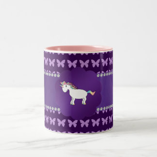 Unicorn purple butterflies Two-Tone coffee mug