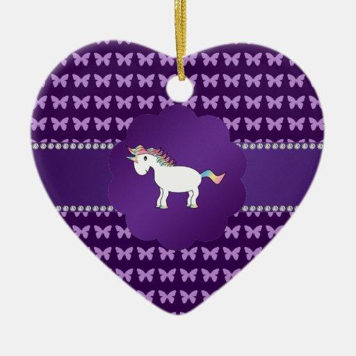 Unicorn purple butterflies ornaments