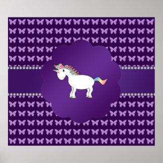 Unicorn purple butterflies poster