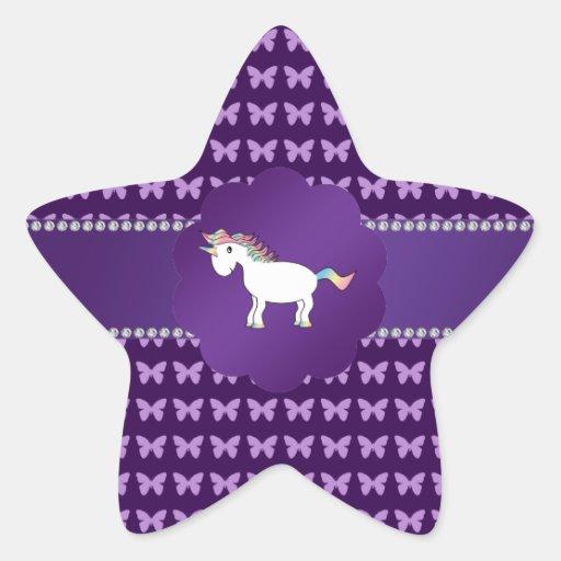 Unicorn purple butterflies stickers