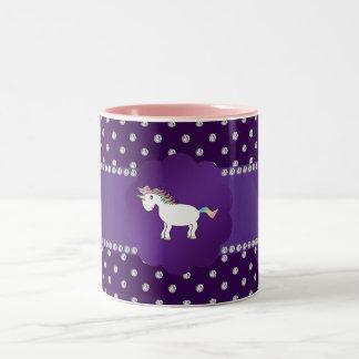 Unicorn purple diamonds Two-Tone coffee mug