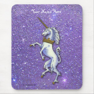 Unicorn Purple Faux Glitter Mouse Pad