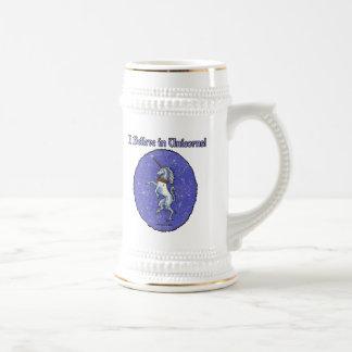 Unicorn Purple Faux Glitter Oval Beer Stein