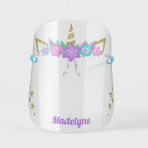 Unicorn Purple Flowers Glitter Stars Personalized Kids' Face Shield