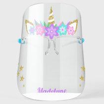 Unicorn Purple Flowers Glitter Stars Personalized Face Shield