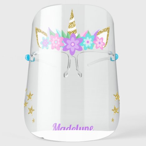 Unicorn Purple Flowers Glitter Stars Personalized Face Shield