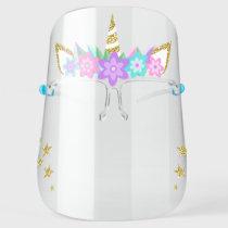 Unicorn Purple Flowers Gold Glitter Stars Face Shield