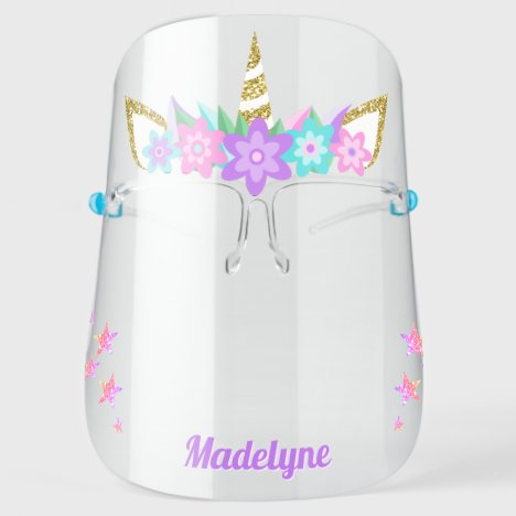 Unicorn Purple Flowers Rainbow Glitter Stars Name Face Shield