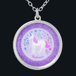 """Unicorn Purple Glitter Personalized Name Silver Plated Necklace<br><div class=""""desc"""">This personalized unicorn necklace features a cute unicorn design  with flowers on a faux purple background. A unique gift for unicorn lovers. Personalize it by changing the name.</div>"""