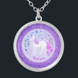 "Unicorn Purple Glitter Personalized Name Silver Plated Necklace<br><div class=""desc"">This personalized unicorn necklace features a cute unicorn design  with flowers on a faux purple background. A unique gift for unicorn lovers. Personalize it by changing the name.</div>"