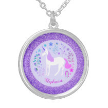 Unicorn Purple Glitter Personalized Name Silver Plated Necklace