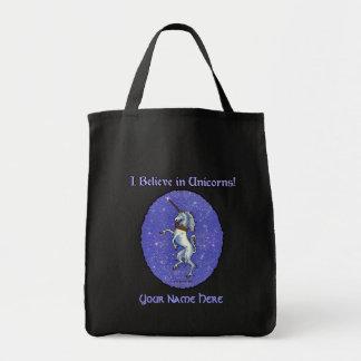 Unicorn Purple Glitter Tote Bag