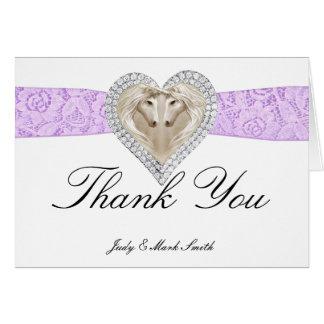 Unicorn Purple Lace Thank You Card