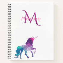 Unicorn purple pink turquoise on white monogram notebook
