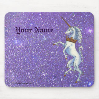 Unicorn Purple Right Faux Glitter Mouse Pad