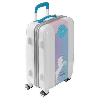 Unicorn, purple, turquoise, pink, custom name luggage