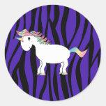 Unicorn purple zebra stripes classic round sticker