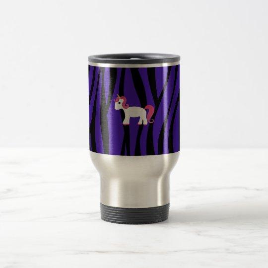 Unicorn purple zebra stripes travel mug