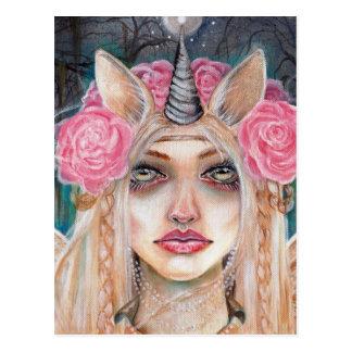 Unicorn Queen w Golden Eyes Postcards