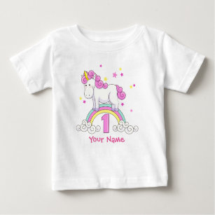 Unicorn Rainbow 1st Birthday Baby T Shirt