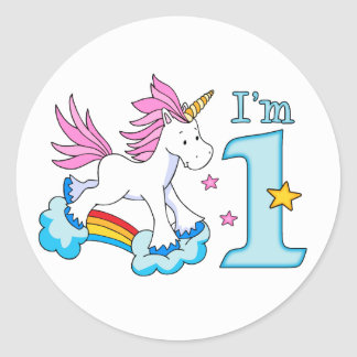 Unicorn Rainbow 1st Birthday Classic Round Sticker