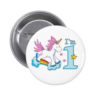 Unicorn Rainbow 1st Birthday Pinback Button