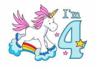 Unicorn Rainbow 4th Birthday Invitation