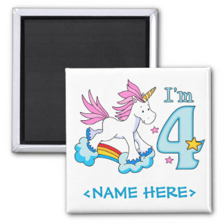 Unicorn Rainbow 4th Birthday 2 Inch Square Magnet