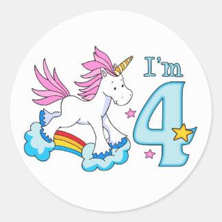 Unicorn Rainbow 4th Birthday Classic Round Sticker