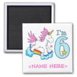Unicorn Rainbow 6th Birthday Fridge Magnets