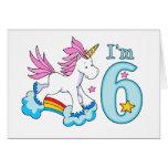 Unicorn Rainbow 6th Birthday Greeting Card
