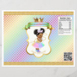 """Unicorn Rainbow Afro Puffs Baby Girl Chip Bag<br><div class=""""desc"""">Chip bag template. Wrap around 1 oz chip or snack bags for custom favors. Seal with double sided tape or glue gun.</div>"""