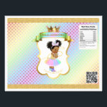 """Unicorn Rainbow Afro Puffs Baby Girl Chip Bag Flyer<br><div class=""""desc"""">Chip bag template. Wrap around 1 oz chip or snack bags for custom favors. Seal with double sided tape or glue gun.</div>"""