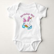 Unicorn Rainbow Birthday Girl Baby Bodysuit