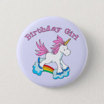 Unicorn Rainbow Birthday Girl Button