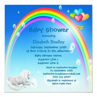 Unicorn, Rainbow & Bubbles Baby Shower 5.25x5.25 Square Paper Invitation Card