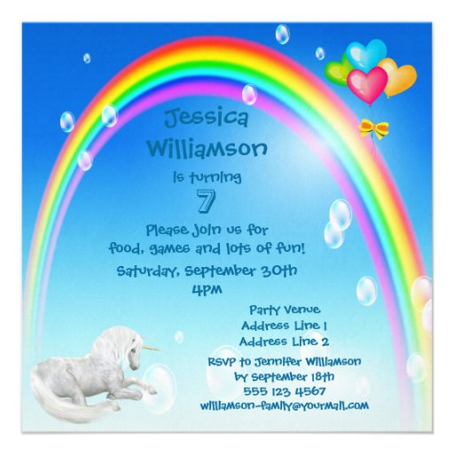 Unicorn, Rainbow Bubbles & Balloons Birthday Party Custom Announcements