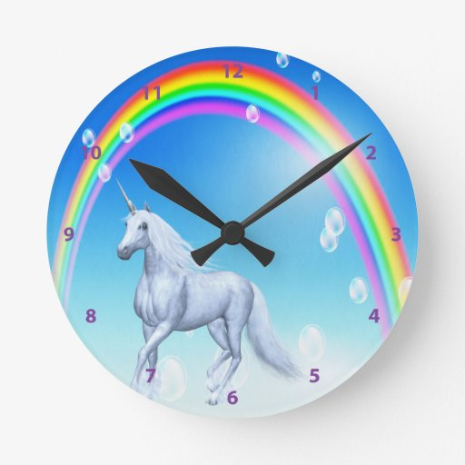 Unicorn, Rainbow & Bubbles Clock